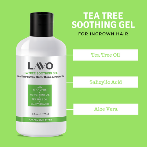 Image of LAVO Tea Tree Gel Tree Soothing Gel - For Ingrown Hair, Razor Bumps & Burns,