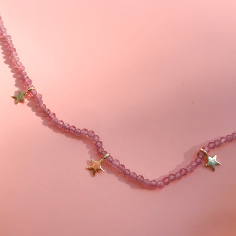 Fiesta Beaded Necklace - Pink Tourmaline