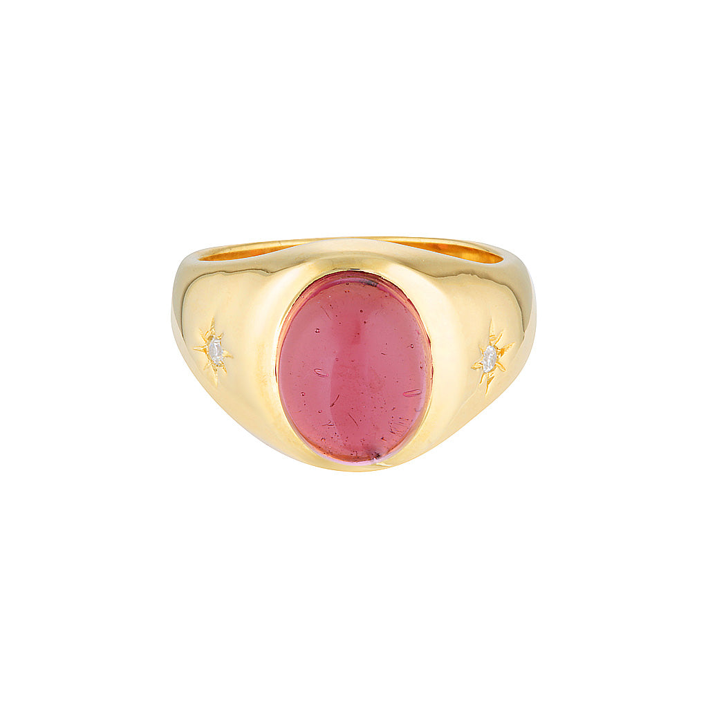 Cocktail Hour Signet Ring - Pink Tourmaline