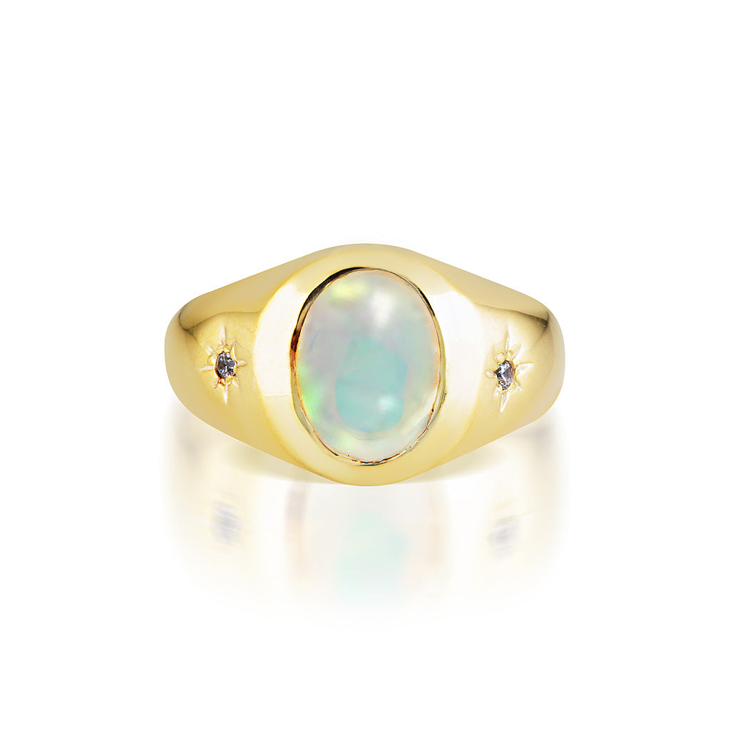 Cocktail Hour Signet Ring - Opal/Gold