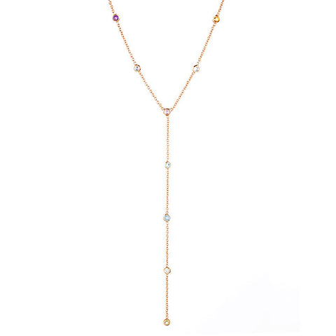 Festival Lariat Necklace - Rose Gold