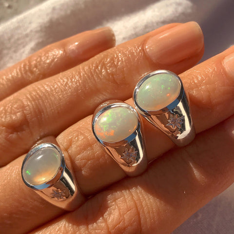 Cocktail Hour Signet Ring - Opal/Silver