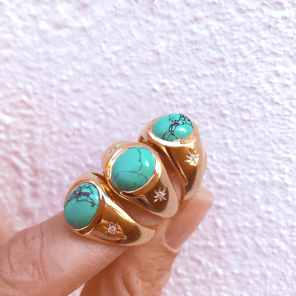 Cocktail Hour Signet Ring - Turquoise