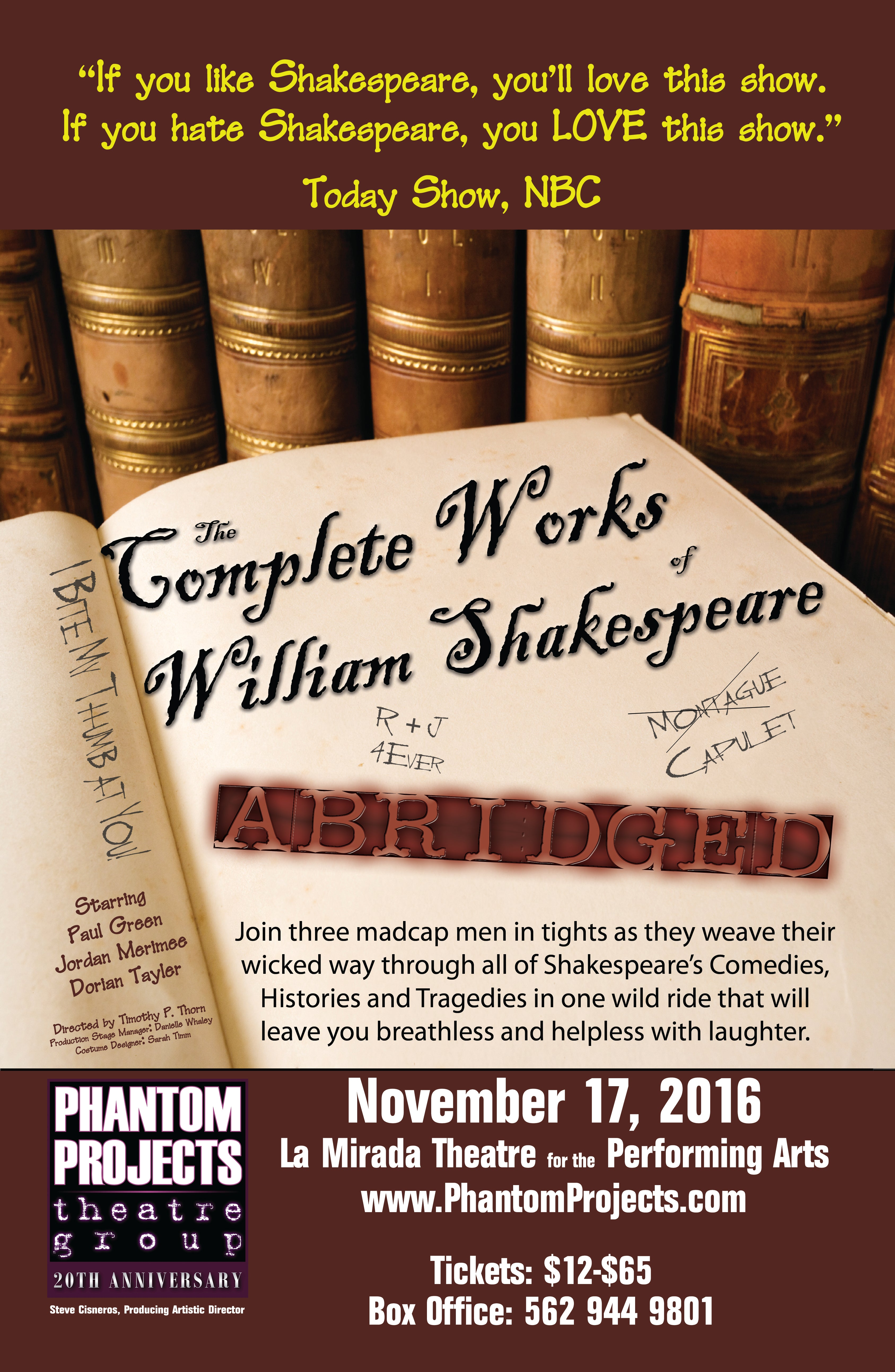 Official Complete Works of William Shakespeare Poster (Autographed)