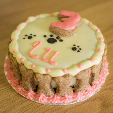 Dog Birthday Cake - Mini Round 4.5inch