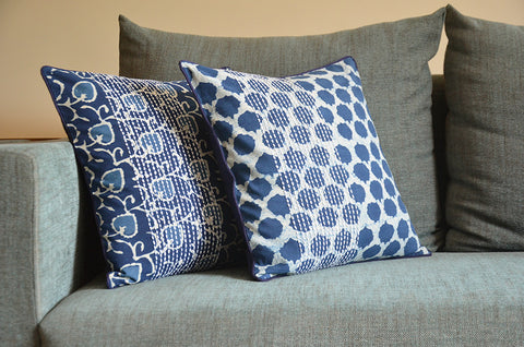 Indigo Block Print Pillow Cover with Stitch Detail