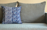 Floral Indigo Block Print Pillow Cover