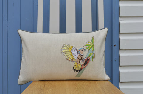 Embroidered Wood Pecker Cushion Cover