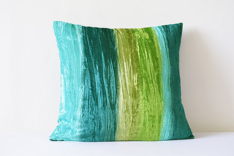 Crushed Velvet, Shaded Turquoise Cushion Cover