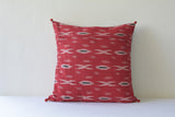 Blue and Red Patchwork Ikat Pillow Cover