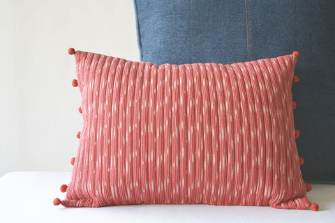 Quilted Red Ikat Lumbar Pillow Cover