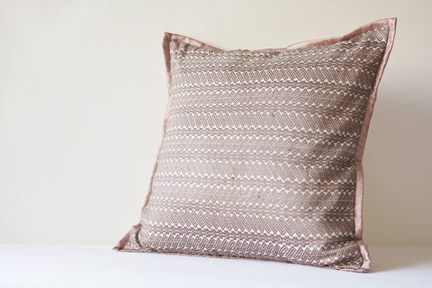 Earthy Mauve Handloom Woven Ahimsa Silk Pillow Cover