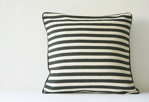 Black and White Woven Stripes Pillow Cover