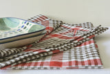 Set of 2, Off White & Red Hand Loom Cotton Dish Towels