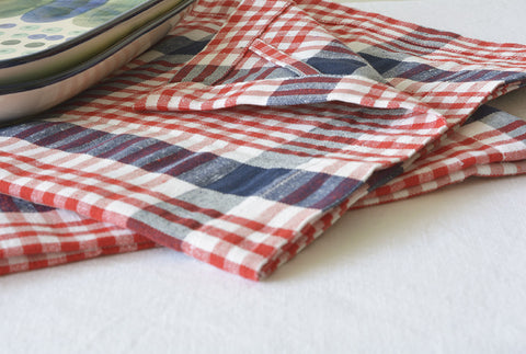 Set of 2, Navy & Red Hand Loom Cotton Dish Towels