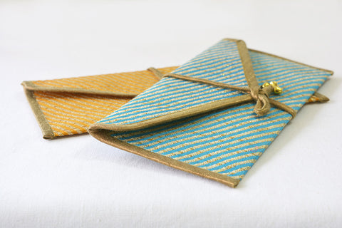Blue & Yellow Brocade Gift Envelopes, Set of 2