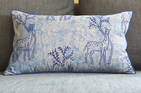 Reversible Indigo Deer Block Print Pillow Cover