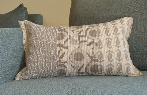 Warm Grey Block Printed Lumbar Pillow Cover