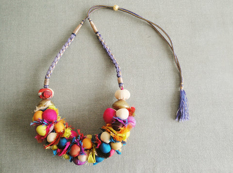 Multicolour Potli Bead Fabric Necklace