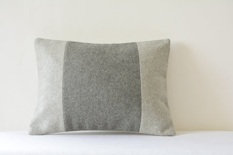 Colour Blocked Felt Cushion Cover in Light and Dark Grey