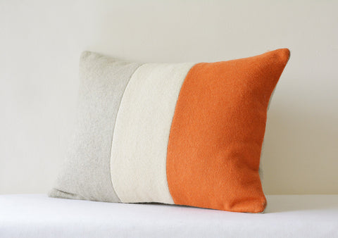 Colour Blocked Felt Cushion Cover in Orange Off White & Grey