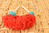 Red & Turquoise Ruched Fabric Necklace