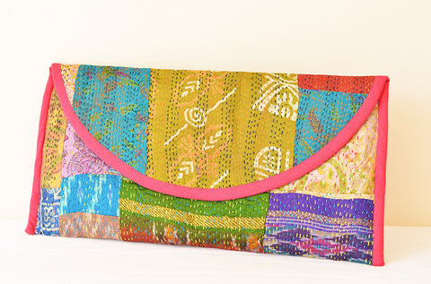 Vintage Kantha Silk Clutch, Fabric Purse