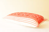 Assamese Silk Gamcha Pillow Cover in Red and White Graphic Pattern