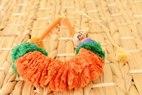 Orange & Green Ruched Fabric Necklace