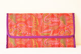 Vintage Kantha Silk Clutch with String
