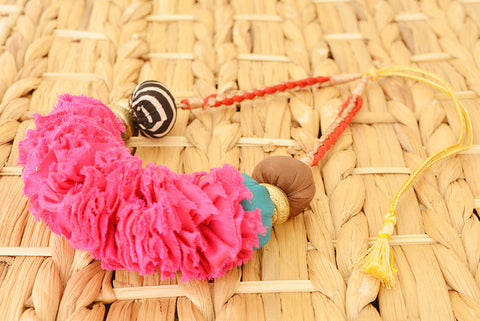 Hot Pink Ruched Fabric Necklace