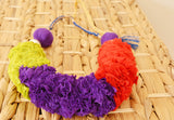 Lime Purple & Red Ruched Fabric Necklace