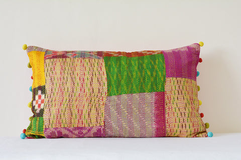 Vintage Sari Hand stitched Kantha Cushion Cover , Bright Decorative Pillow