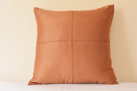 Squared Camel Color Suede Pillow with Stitch Detail