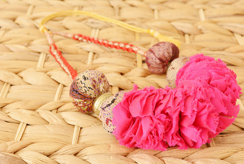 Fuchsia Ruched Fabric Necklace