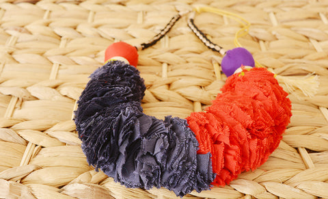 Navy & Red Ruched Fabric Necklace
