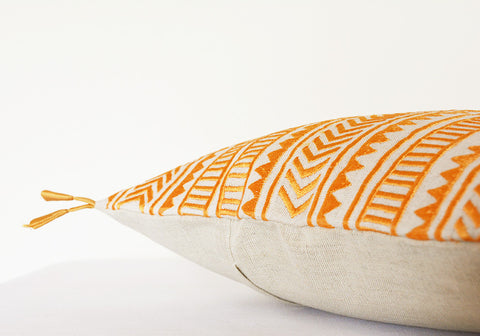 Beautiful Geometric Embroidery on Cotton Linen Base