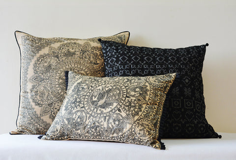 Black and Beige Hand Painted Madhubani Cushion Cover