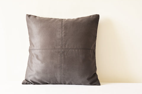 Dark Grey Suede Pillow with Stitch Detail
