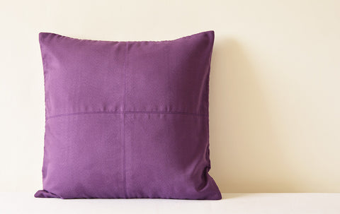 Purple Suede Pillow with Stitch Detail