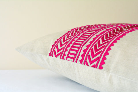 Beautiful Pink Geometric Embroidery on Cotton Linen Base