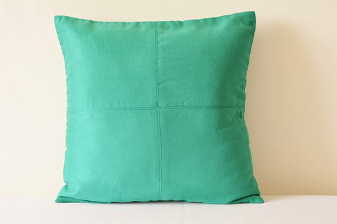 Teal Suede Pillow with Stitch Detail