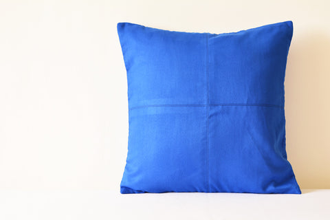 Ink Blue Suede Pillow with Stitch Detail