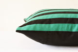 Striped Black & Teal Faux Suede Pillow Cover