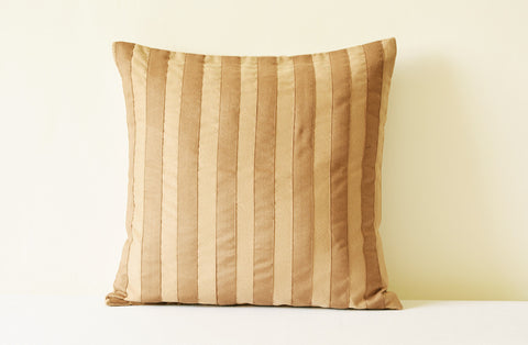 Striped Brown Faux Suede Pillow Cover