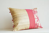 Pink Cross Stitch Embroidered Pillow Cover with Patchwork