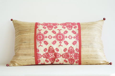 Pink Cross Stitch Embroidered Rectangle Cushion with Patchwork