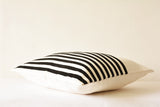 Striped Black & White Faux Suede Pillow Cover