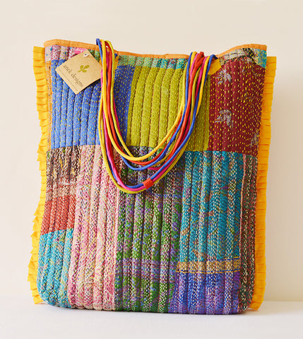 Multi-colour Kantha Tote Yellow