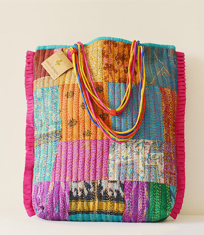Multicolour Kantha Tote Pink
